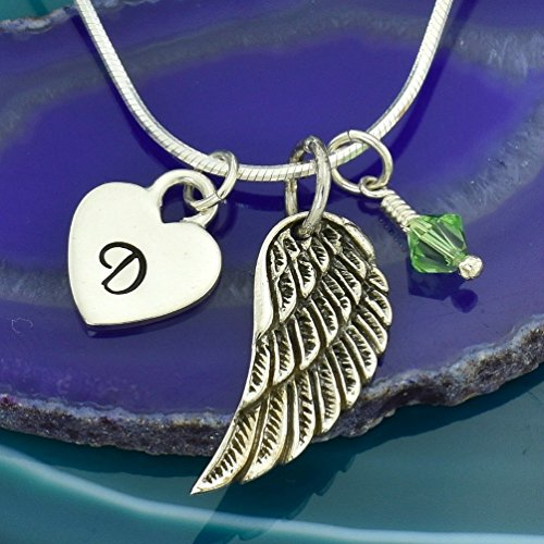 Personalized Angel Guardian Wing 925 Sterling Silver Custom Pendant Hand Stamped Initial Letter Heart Crystal Birthstone Charm Chain Customizable Necklace Gift ()