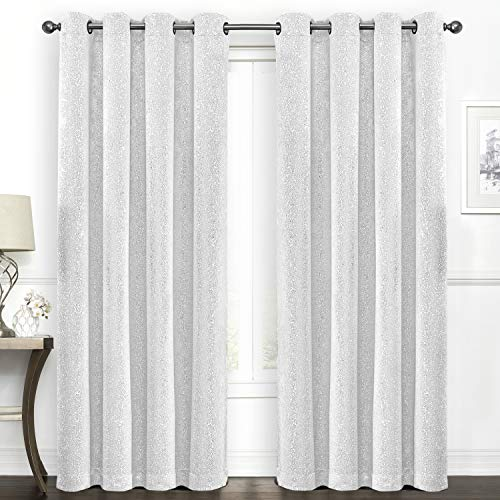 SUO AI TEXTILE Blackout Curtains Room Darkening Drapes Suede Like White Print Darkening Thermal Insulated Grommet Window Curtain,52 by 95 Inch,2 - Suede Set Panel Window