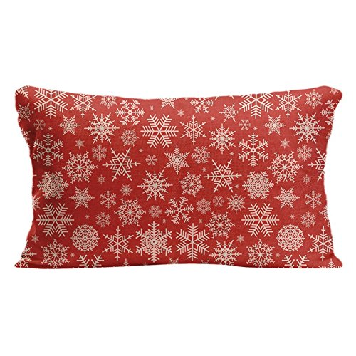 KafePross Snowflakes Pattern in Red Background Home Decorative Cotton Linen Pillow Covers 12x20 Inch -