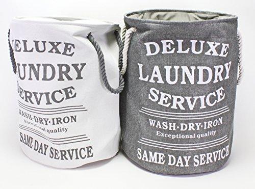 Bada Bing Wäschesack hellgrau Deluxe Laundry Style Vintage Look + Wäschenetz Set VO