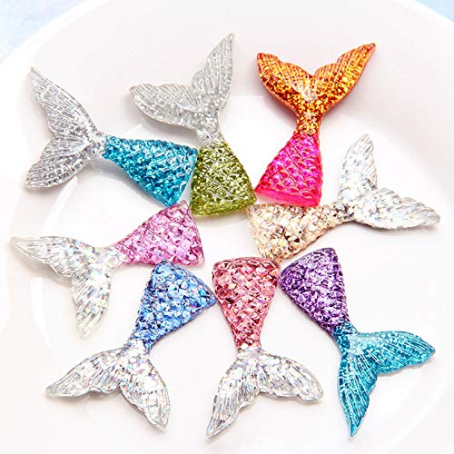 Slime Glitter: 8 PCS/Lot Glittering Crystal Clear Mermaid Fish Tail Slices Slime Filler for Kids Lizun DIY Accessories Supplies Decoration