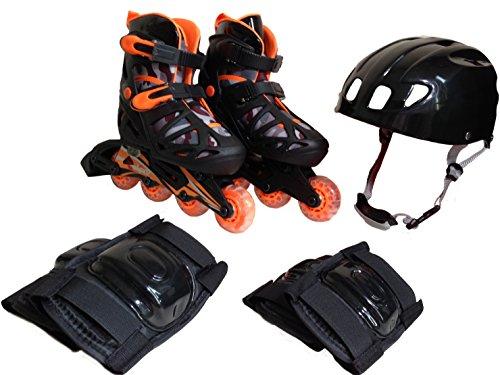 織機心から熱東方興産 ジュニアインラインスケート&ヘルメット&プロテクター付き コンボセット CA-475 F ブラック S