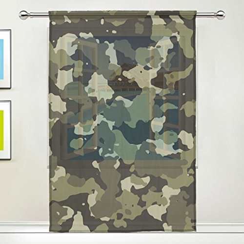 Military Camo Camouflage Pattern Print Window Sheer Curtain Panels, Door Window Gauze Curtains for Living Room Bedroom Kid Office Home Decor 55x84 (Tent Style Napkin Rings)