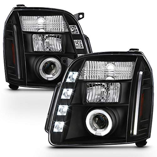 ACANII - For 2007-2013 GMC Yukon Denali XL SUV LED Halo Black Housing Projector Headlights Headlamps, Driver & Passenger
