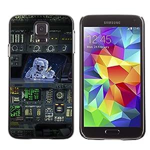 QCASE / Samsung Galaxy S5 SM-G900 / traje espacial viajes nave arte vuelo máquina / Delgado Negro Plástico caso cubierta Shell Armor Funda Case Cover