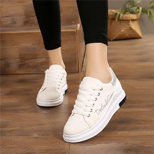 GTVERNH Zapatillas de Deporte para Mujer/Verano/Verano/Prenda y Otoño Bajo Zapatos de Deporte Espesor Parte inferior Mujer Zapatos de Frenulum Estudiantes Junta Zapatos Joker Turismo Ocio Zapatos Únic blanco