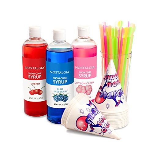 Nostalgia SCK3 Premium Snow Cone Syrup Party Kit (Accessories Sno Cone)
