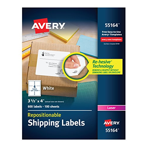 Repositionable Address Label Avery (Avery 55164 Repositionable Shipping Labels, Inkjet/Laser, 3 1/3 x 4, White (Box of 600 Labels))
