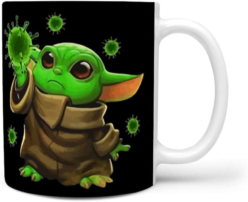 Vrnceit Coronavirus Merch Yoda Taza grande con asa, idea de regalo para café, té, cacao y bebidas calientes, marfil, cerámica, blanco, 330ml
