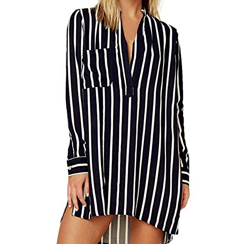 LIM&Shop Women Summer Shirt Plus Size Tunic Top Long Sleeve Striped T-Shirt Casual Mini Dress V-Neck Pockted Slimming -