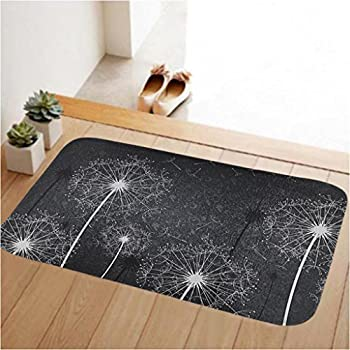 Amazon.com : Grey and White Dandelion Art Pattern Non-slip Doormat ...