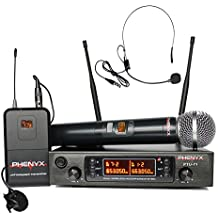 Phenyx Pro UHF Wireless Microphone System, Cordless Handheld/Bodypack/Lapel/Headset Mic Set, 80 Adjustable Channels, Professional Long Distance Performance, Ideal for Presentation, PA, Church (PTU71)