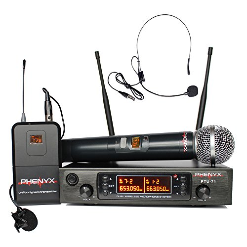 Phenyx Pro UHF Wireless Microphone System, Handheld/Lapel /Headset Mics and Bodypack Set, 80 Channels, Professional wireless performance, Ideal for Presentation, Church, Interview,Party(PTU-71) Pro Microphone System