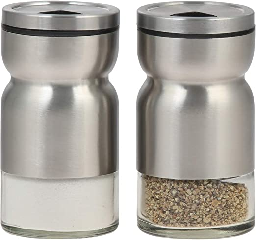 Amazon Com Salt And Pepper Shaker With Adjustable Pour Holes Dispenser Lids Stainless Steel With Glass Bottoms 2 Piece Set Stainless Steel Kitchen Dining