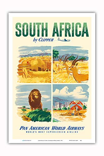Pacifica Island Art - South Africa by Clipper - Pan American World Airways - Vintage Airline Travel Poster c.1951 - Master Art Print - 12in x 18in
