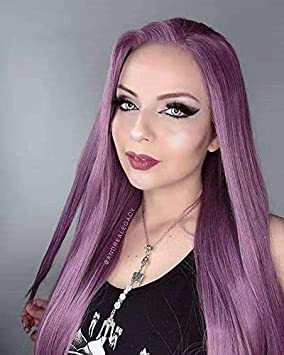 RainaHair Peluca larga lila de 66 cm con encaje frontal y parte lateral resistente al calor, pelucas sintéticas para mujer, aspecto natural de Navidad: Amazon.es: Belleza