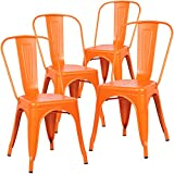 Poly And Bark Tolix Style Bistro A Dining Side Chair (Set Of 4), Orange