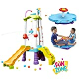 Fun Zone Tumblin' Tower Climber & Seated Spinner Dual Twister, Little Tikes, Kids Climbers, Outdoor & Active Play, Water Toy, Strength & Coordination, Physical, Social, Motor Skills, Fun Kids Activity