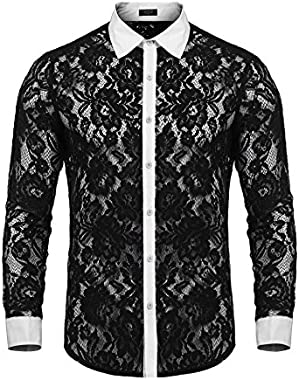 Men's Mesh See Through Fishnet Clubwear Shirts Long Sleeve Sexy Lace Undershirts