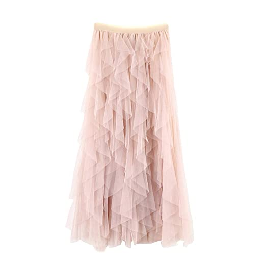 ab833fbcec Womens Tulle Skirts Lace Mesh High Waist Pleated Tutu Tea-Length Elastic  Midi Skirt (