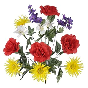 House of Silk Flowers Artificial 22-inch Red/Yellow/Purple Rose/Gerbera Daisy/Delphinium Bush (Set of 2) 23