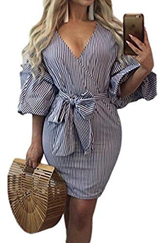 Sleeve Bowknot Women Dresses - 6
