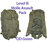 Level III LV3 Molle Assault Pack Backpack–OD GREEN For Sale