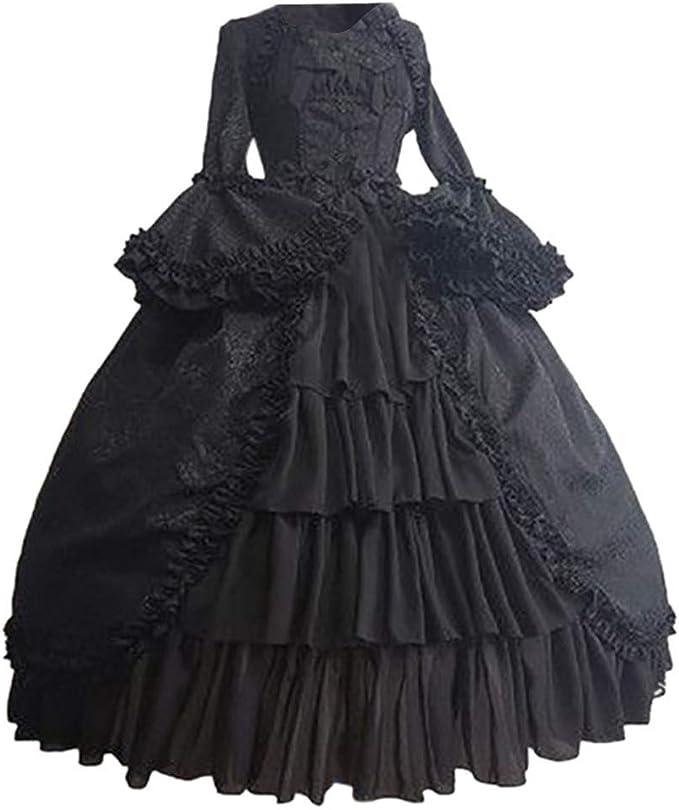 con cuciture alla moda scollatura squadrata patchwork a trapezio gotico fiocco e volant vintage carnevale Abito da donna stile medievale per Halloween retr/ò
