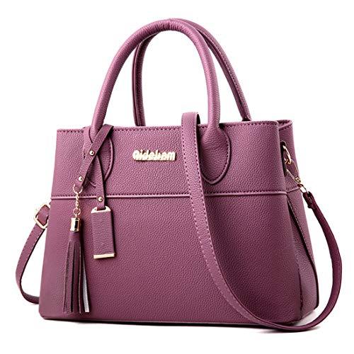 Capacité Main Souple Dark Purple Paquet Zippés Poche Cuir Pu Femme Sacs À Fonctionnelle Série Grande Bandoulière Sac Pour Sq8p7p