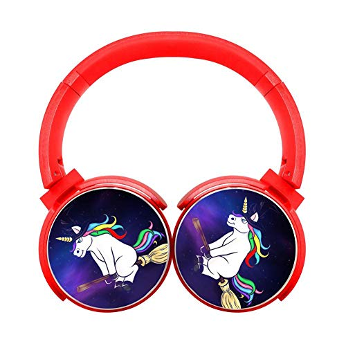 Funny Broom Unicorn Witch Customized Wireless Retractable Bluetooth Headphones Headsets Over Ear for Kids Or Adults Red]()