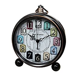 Vintage Clock Analog for Desk,Silent Battery Operated Tabletop Small Decorative Clock Non Ticking 5.5 inch(Bronze)