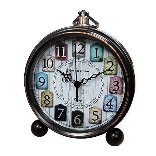 Vintage Clock Analog for Desk,Silent Battery Operated Tabletop Small Decorative Clock Non Ticking 5.5 inch(Bronze) (Art Vintage Fashion)