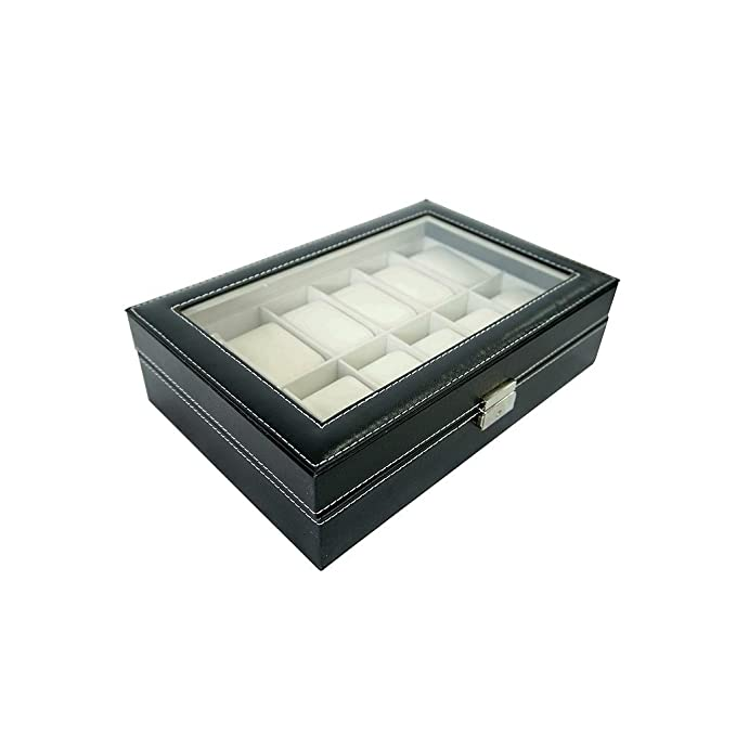 Amazon.com: Todeco - Watch Box, Watch and Bracelet Storage Case - Size: 30 x 20 x 8 cm - Box material: MDF - 12 watches and display, Black/Beige: Kitchen & ...