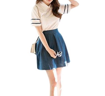 kiwitwo vestidos de ropa 2 PC de manga corta talla corbata falda ...