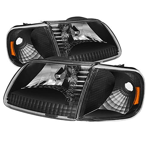 For 1997 2004 F150 1997 1999 F250ld 1997 2002 Expedition Blk Headlights W Amber Reflector Pair L R 1998 1999 2000 2001