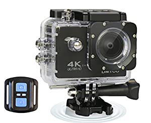 DMYCO 4K WIFI Ultra HD Waterproof Sports Action Camera 16MP Remote Control 170 Degree Wide Angle 2.0 Inch LCD 100 Feet Underwater with Accessories Kits and Portable Package