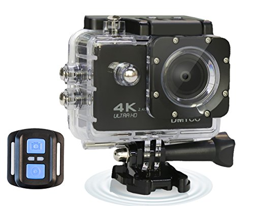 DMYCO 4K WIFI Ultra HD Waterproof Sports Action Camera 16MP Remote Control 170 Degree Wide Angle 2.0 Inch LCD 100 Feet Underwater with Accessories Kits and Portable Package (Pic Wireless Controller)