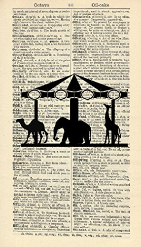 ANIMAL CAROUSEL ART PRINT - VINTAGE ART PRINT - Animal Art Print - Silhouette Illustration - Vintage Dictionary Art Print - Wall Hanging - Home Décor - Housewares - Book (Carousel Wall Art)