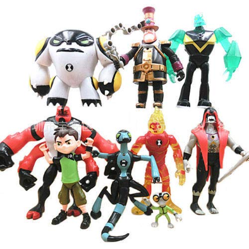 FidgetKute Lot 9 pcs Ben 10 Action Figure Play Set Toy Cake Topper XLR8 Heatblast Four Arms ()