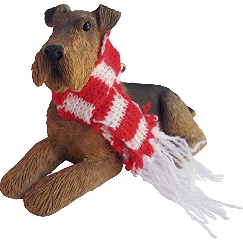 Sandicast Airedale Terrier with with Red and White Scarf Christmas Ornament