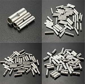 lucksender 150pcs Contera de alambre de metal No aislado de plata Cable Crimp Terminales Conectores (10-12AWG (4.0–6.0mm?)/14-16AWG (1,5–2,5mm?)/18–22AWG (0,5–1,5mm?), cada Tamaño 50pcs), Modelo:, herramientas y tienda de hardware