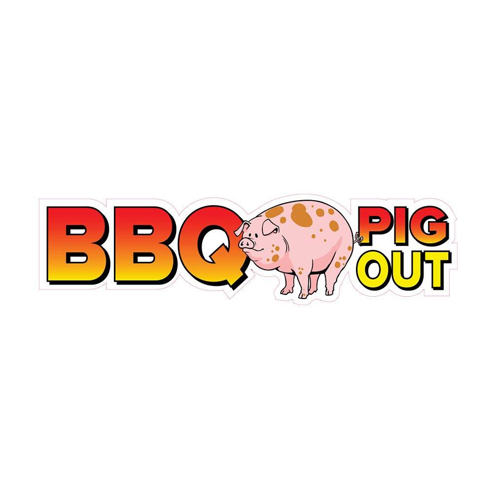 Amazon com : Die-Cut Sticker Multiple Sizes BBQ Pig Out Restaurant