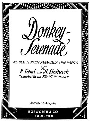Friml/Stothart: Donkey Serenade (Accordion). Partitions pour Accordéon Bosworth