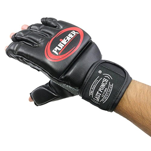 (Last Punch PU Leather Fingerless Boxing Fighting MMA Training Gloves)