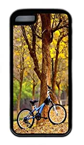 iPhone 5C Case, iPhone 5C Cases -Bike In The Park TPU Silicone Rubber Case Cover for iPhone 5C Black