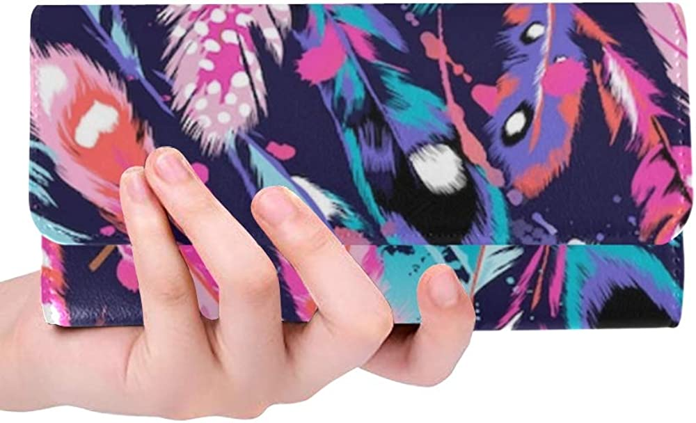 Womens Walle Beautiful Feathers Seamless Background Womens Wallets Travel Trifold Wallet Multi Card Organizer Wallet Trifold Women Blocking Purse Cre
