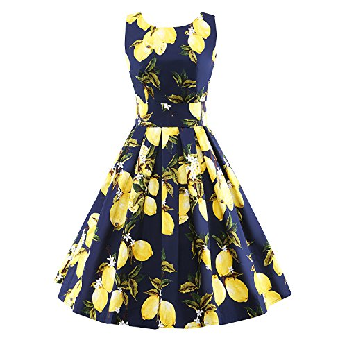 LUOUSE-Vintage-1950s-1960s-Floral-Spring-Garden-Party-Cocktail-Dress