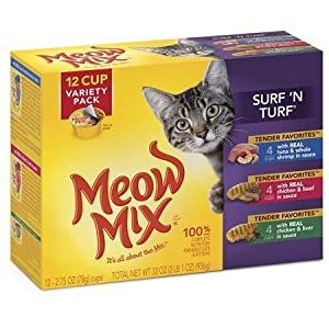 Meow Mix Tender Favorites Surf 'N Turf Wet Cat Food Variety Pack, 2.75-Ounce Cups (Pack of 12) includes 4 each: Tuna & Whole Shrimp, Chicken & Beef, and Chicken & Liver lovely