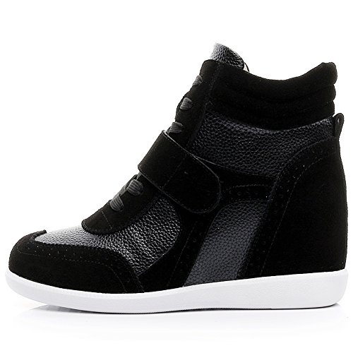 Rismart Mujeres Wedge Heel Hook & Loop Brogue High Top Cómodo Zapatillas De Deporte De Moda Sn8599 (negro, Us8)