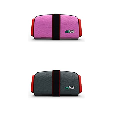 mifold 2 pack Grab and Go Booster Seat, Perfect Pink and Slate